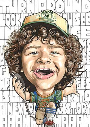 Caricature of Gaten Matarazzo as Dustin from Stranger Things.
