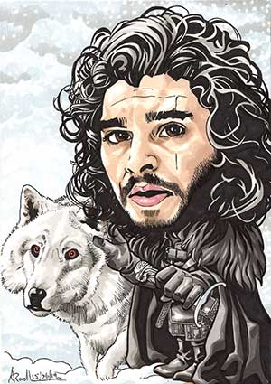 Caricature of Jon Snow from Game of trones.