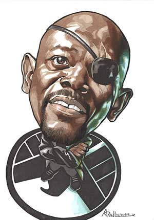 Caricature of Samuel L Jackson as Nick Fury.